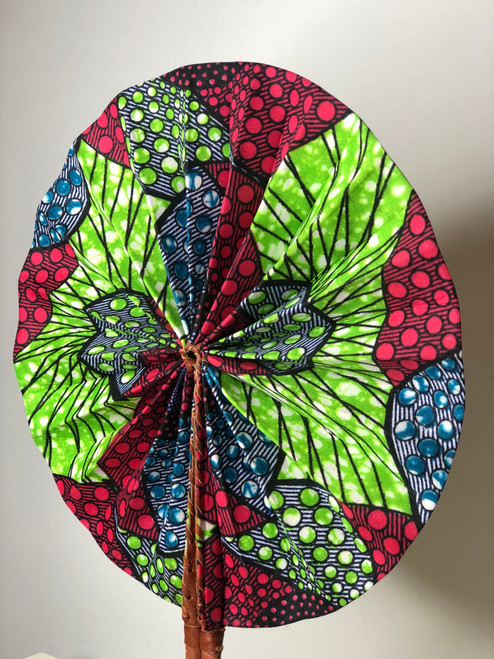 Leather & Ankara Folding Fan - 030