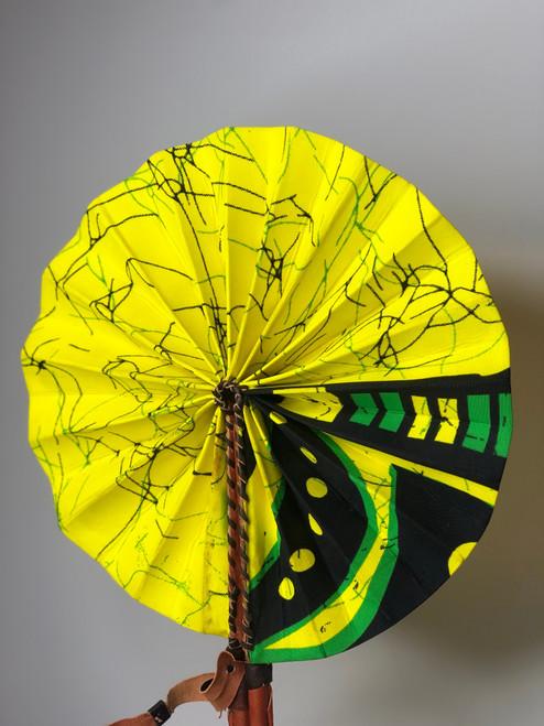 Leather & Ankara Folding Fan - 031