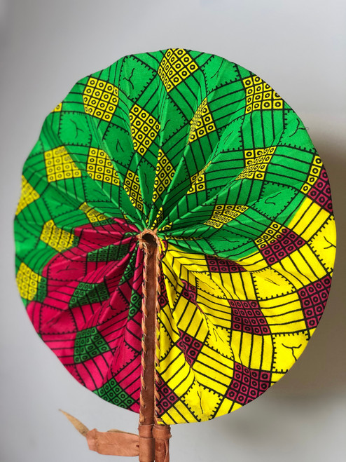 Leather & Ankara Folding Fan - 032