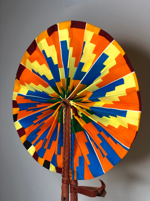 Leather & Ankara Folding Fan - 033