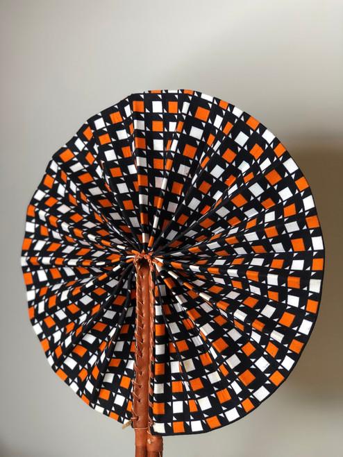 Leather & Ankara Folding Fan - 035