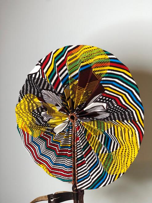 Leather & Ankara Folding Fan - 036