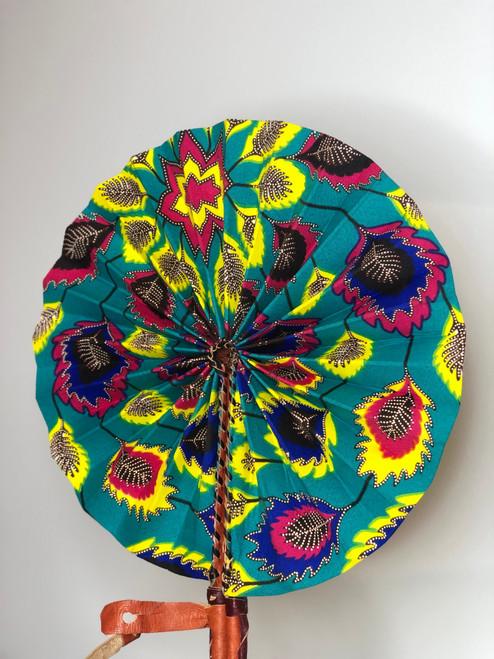 Leather & Ankara Folding Fan - 037