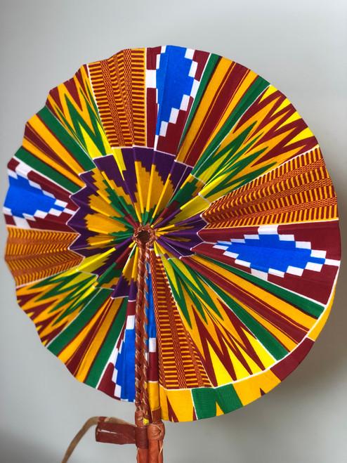 Leather & Ankara Folding Fan - 038