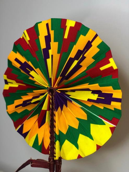 Leather & Ankara Folding Fan - 039
