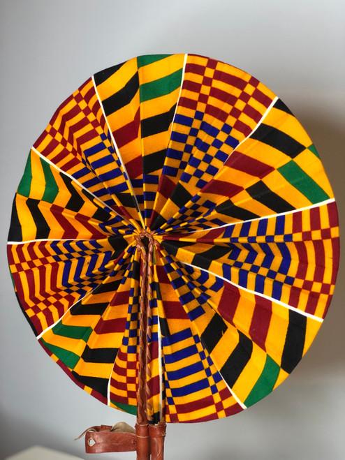 Leather & Ankara Folding Fan - 040