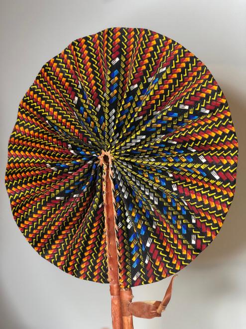 Leather & Ankara Folding Fan - 041