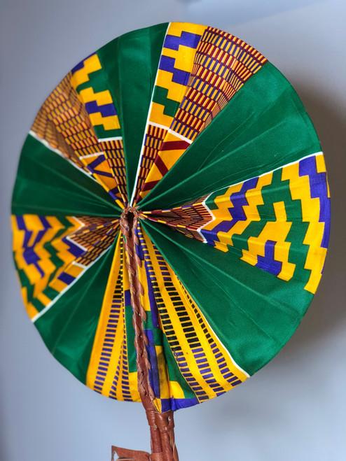 Leather & Ankara Folding Fan - 042
