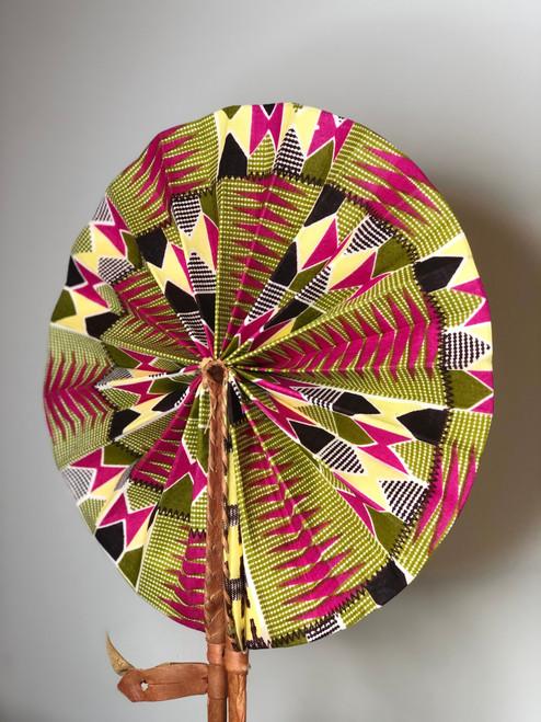 Leather & Ankara Folding Fan - 043