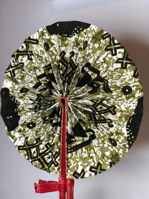 Leather & Ankara Folding Fan - 044