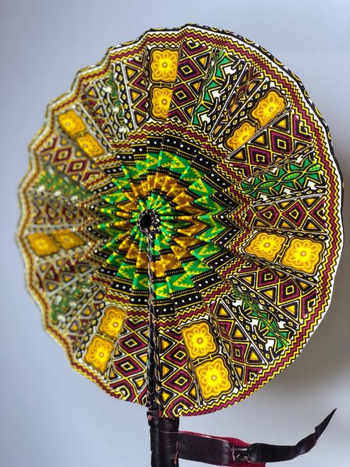 Leather & Ankara Folding Fan - 045