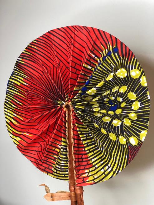 Leather & Ankara Folding Fan - 046