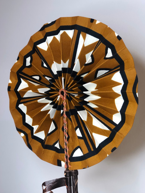 Leather & Ankara Folding Fan - 047