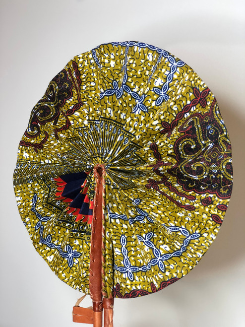 Leather & Ankara Folding Fan - 048