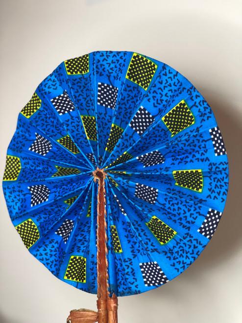 Leather & Ankara Folding Fan - 049