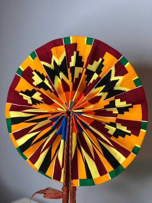 Leather & Ankara Folding Fan - 051