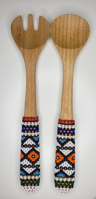 Hand-carved Bamboo Beaded Salad Servers - 015