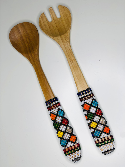 Hand-carved Bamboo Beaded Salad Servers - 016