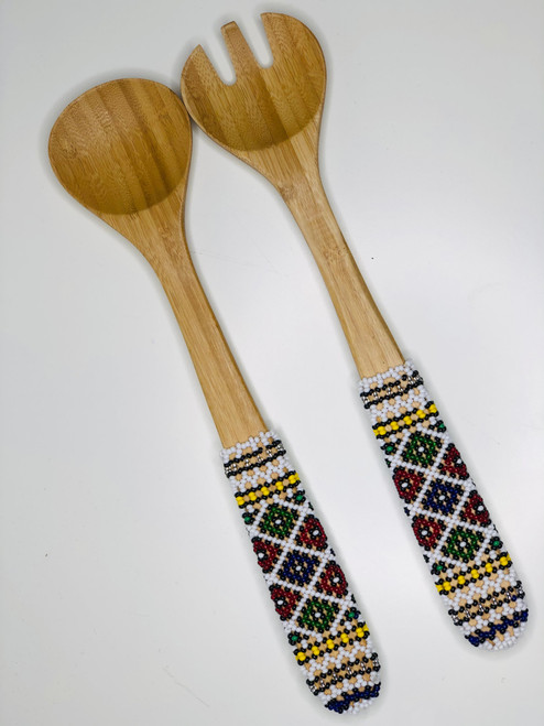 Hand-carved Bamboo Beaded Salad Servers - 017