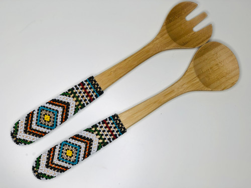 Hand-carved Bamboo Beaded Salad Servers - 018