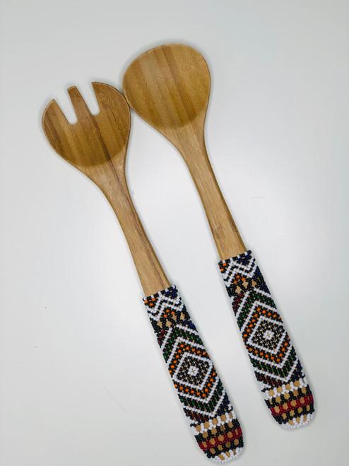 Hand-carved Bamboo Beaded Salad Servers - 014