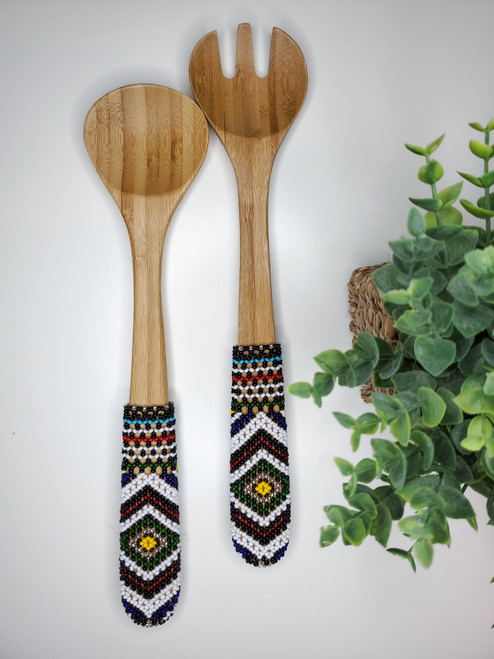 Hand-carved Bamboo Beaded Salad Servers - 024