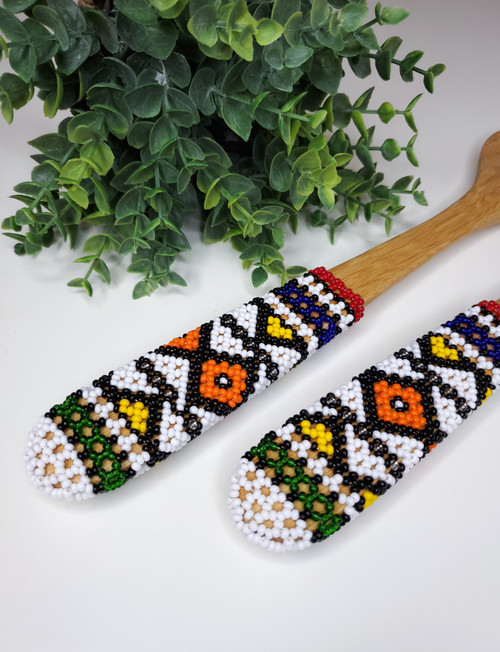 Hand-carved Bamboo Beaded Salad Servers - 025