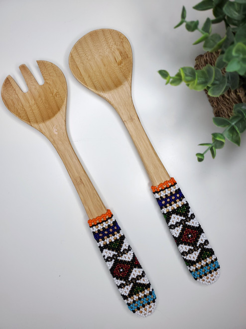 Hand-carved Bamboo Beaded Salad Servers - 026