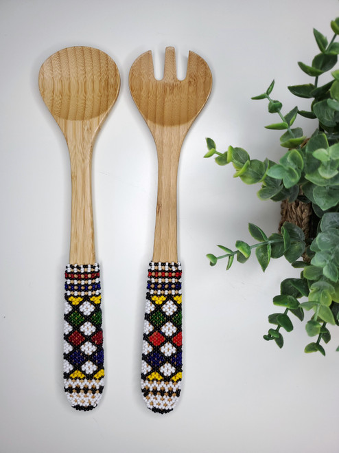 Hand-carved Bamboo Beaded Salad Servers - 027