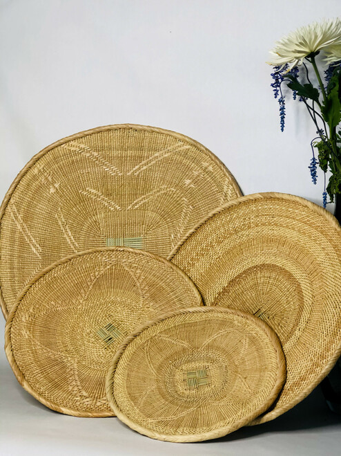"African Basket - Tonga - Zimbabwe Binga Basket Set of 4 - (19"",15"",13"",11"")"