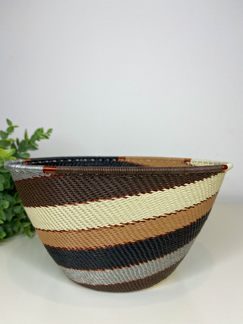 Telephone wire Large Deep Bowl - Silver Sands