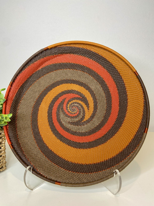 Telephone Wire Round Tray - African Clay