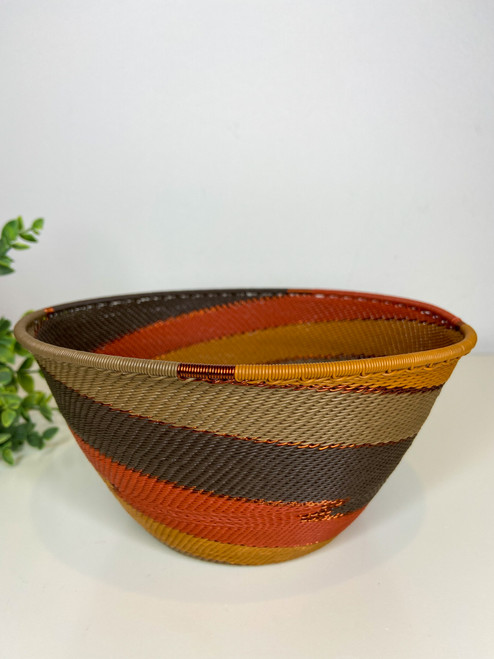 Telephone wire Large Deep Bowl - African Clay