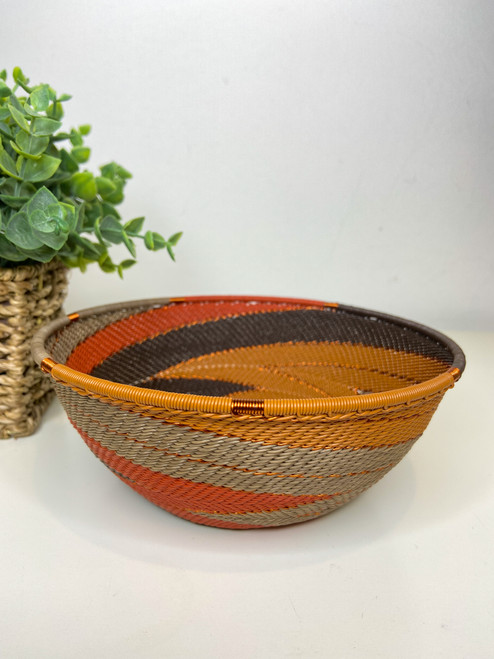 Telephone wire Medium Bowl - African Clay