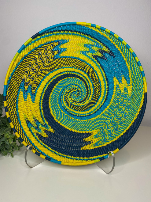 Telephone Wire Round Tray- Bohemian Blue