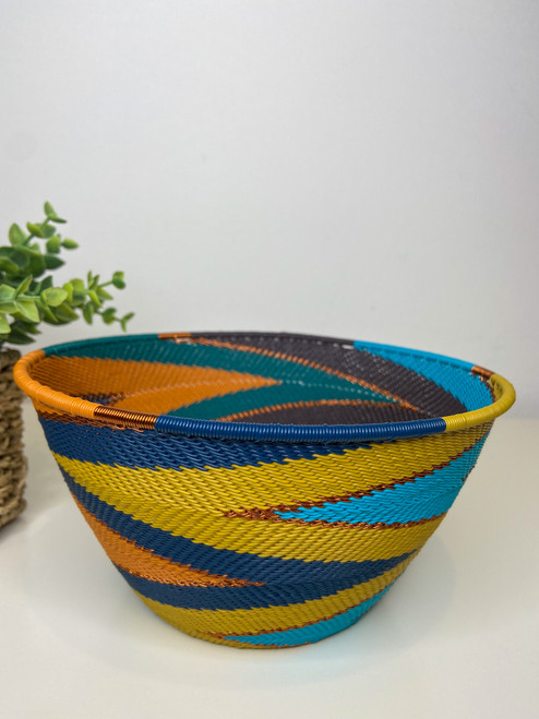 Telephone wire Large Deep Bowl - Kingfisher