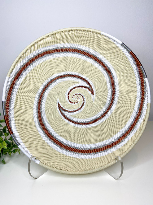 Telephone Wire Round Tray- African Ivory