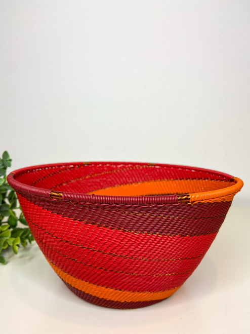 Telephone wire Large Deep Bowl - African Ember