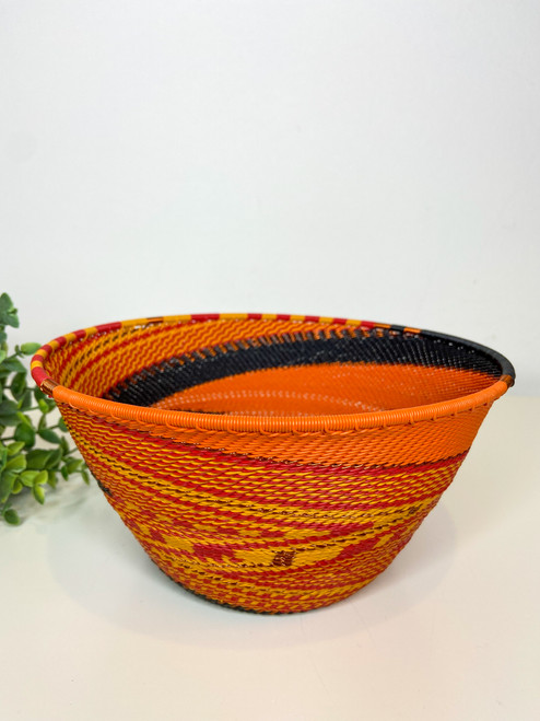 Telephone wire Large Deep Bowl - African Fire