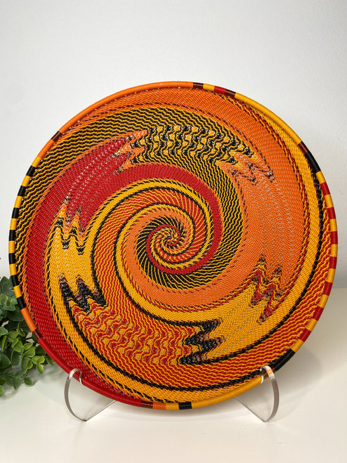 Telephone Wire Round Tray - African Fire