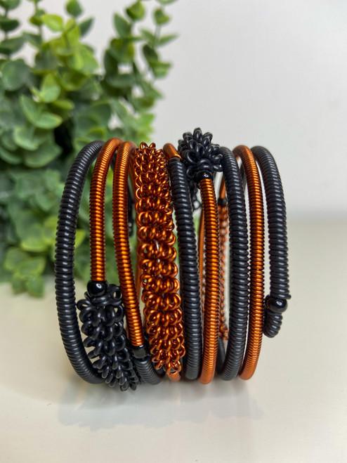 Telephone Wire blended Bracelet   - Black & Copper
