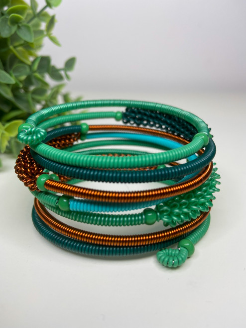 Telephone Wire blended Bracelet   - Aqua