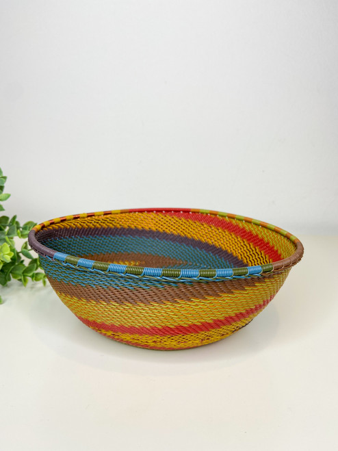 Telephone Wire Large Shallow Bowl - Earthy Rainbow