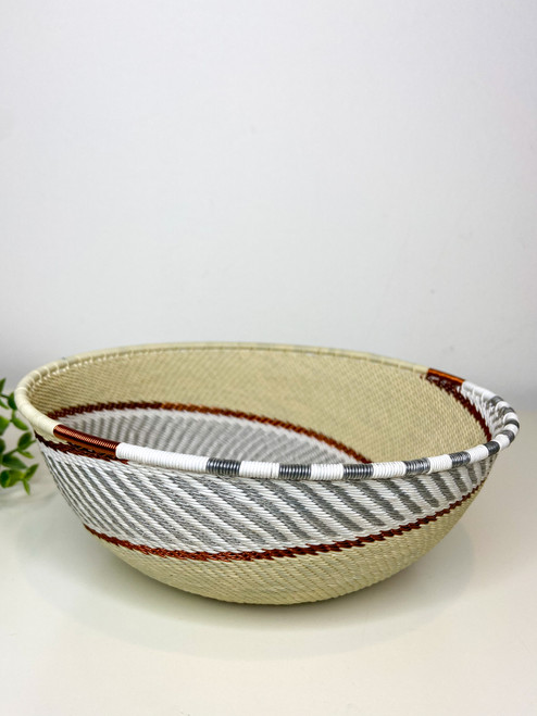 Telephone Wire Large Shallow Bowl - African Ivory