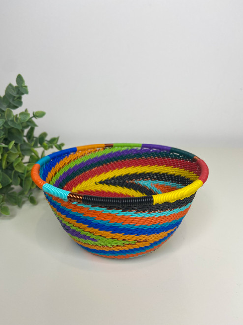 Telephone wire Small Deep Bowl - Full Rainbow