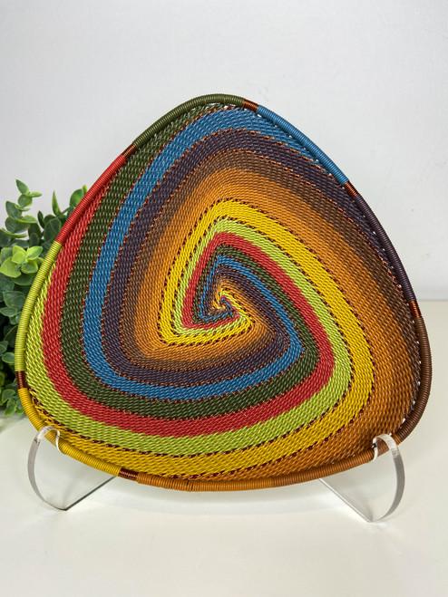 Telephone wire Triangle Plate- Earthy Rainbow