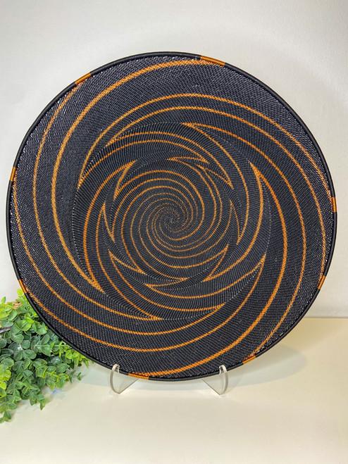 Large Open-V Plate - Black & Copper