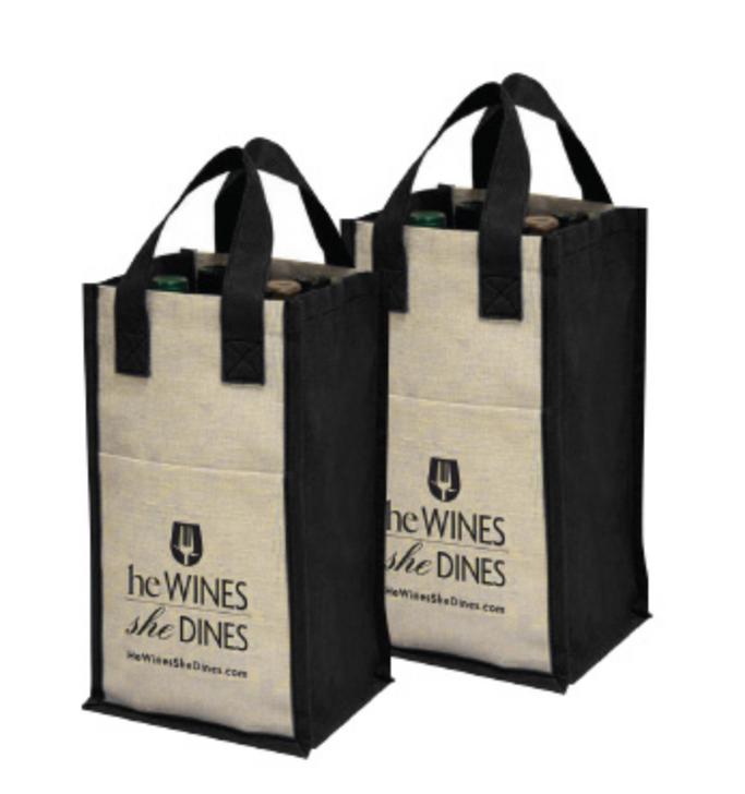 image of 4 bottle burlap wine tote