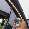 Kampa Sabre Link Flex Starter Kit 45 LED - On with view of controller