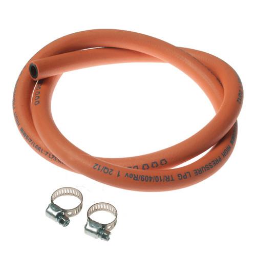 Reinforced Orange Gas Hose & Clips 1m pack